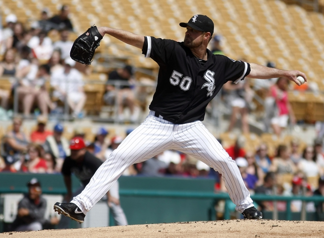 Mar 26, 2014; Phoenix, AZ, USA; Chicago White Sox starting pitcher John Danks (50) throws against the Cincinnati Reds in the first inning at Camelback Ranch. Mandatory Credit: Rick Scuteri-USA TODAY Sports