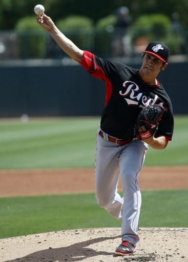 Mar 26, 2014; Phoenix, AZ, USA; Cincinnati Reds starting pitcher Brett Marshall (41) throws against the Chicago White Sox in the first inning at Camelback Ranch. Mandatory Credit: Rick Scuteri-USA TODAY Sports