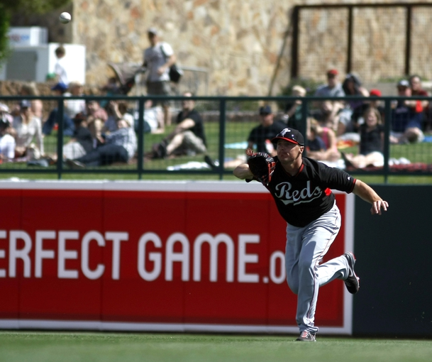 Mar 26, 2014; Phoenix, AZ, USA; Cincinnati Reds right fielder Jay Bruce (32) makes the running catch against the Chicago White Sox in the fourth inning at Camelback Ranch. Mandatory Credit: Rick Scuteri-USA TODAY Sports