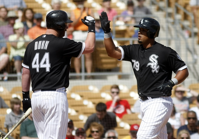 Mar 26, 2014; Phoenix, AZ, USA; Chicago White Sox first baseman Jose Abreu (79) gets a high five from Adam Dunn (44) after hitting a three run home run against the Cincinnati Reds in the fourth inning at Camelback Ranch. Mandatory Credit: Rick Scuteri-USA TODAY Sports