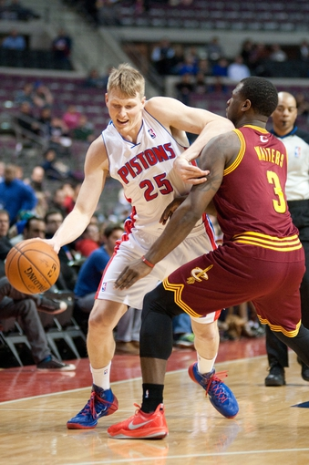 Mar 26, 2014; Auburn Hills, MI, USA; Cleveland Cavaliers guard Dion Waiters (3) guards Detroit Pistons forward Kyle Singler (25) during the first quarter at The Palace of Auburn Hills. Mandatory Credit: Tim Fuller-USA TODAY Sports