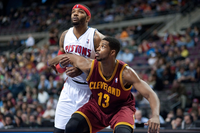 Mar 26, 2014; Auburn Hills, MI, USA; Cleveland Cavaliers forward Tristan Thompson (13) boxes out Detroit Pistons forward Josh Smith (6) during the second quarter at The Palace of Auburn Hills. Mandatory Credit: Tim Fuller-USA TODAY Sports