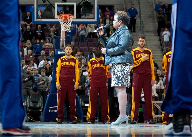 Mar 26, 2014; Auburn Hills, MI, USA; LaShell Renee sings the National Anthem before the game between the Detroit Pistons and the Cleveland Cavaliers at The Palace of Auburn Hills. Mandatory Credit: Tim Fuller-USA TODAY Sports