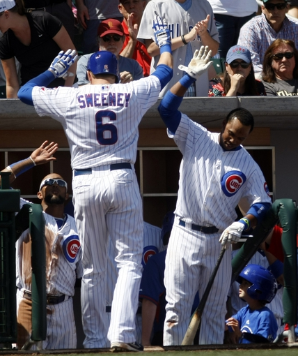 Mar 27, 2014; Mesa, AZ, USA; Chicago Cubs center fielder Ryan Sweeney (6) gets a high five from Luis Valbuena (24) after hitting a solo home run against the Chicago White Sox in the second inning at HoHoKam Park. Mandatory Credit: Rick Scuteri-USA TODAY Sports