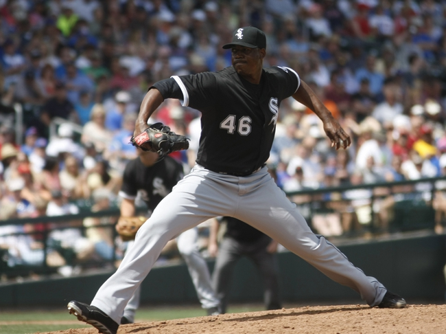 Mar 27, 2014; Mesa, AZ, USA; Chicago White Sox relief pitcher Donnie Veal (46) throws against the Chicago Cubs in the fifth inning at HoHoKam Park. Mandatory Credit: Rick Scuteri-USA TODAY Sports