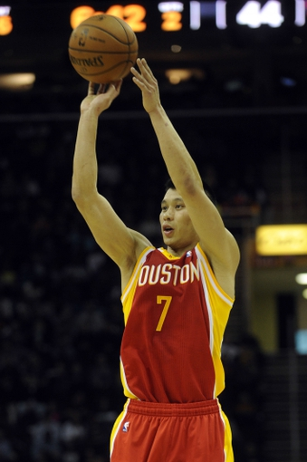 Mar 22, 2014; Cleveland, OH, USA; Houston Rockets guard Jeremy Lin (7) against the Cleveland Cavaliers at Quicken Loans Arena. Houston won 118-111. Mandatory Credit: Ken Blaze-USA TODAY Sports