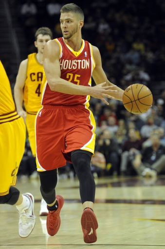 Mar 22, 2014; Cleveland, OH, USA; Houston Rockets forward Chandler Parsons (25) against the Cleveland Cavaliers at Quicken Loans Arena. Houston won 118-111. Mandatory Credit: Ken Blaze-USA TODAY Sports