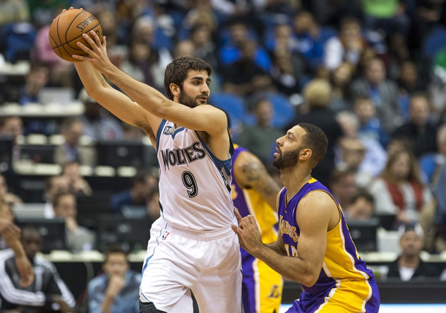 Mar 28, 2014; Minneapolis, MN, USA; Minnesota Timberwolves guard Ricky Rubio (9) holds the ball as Los Angeles Lakers guard Kendall Marshall (12) defends in the first half at Target Center. Mandatory Credit: Jesse Johnson-USA TODAY Sports