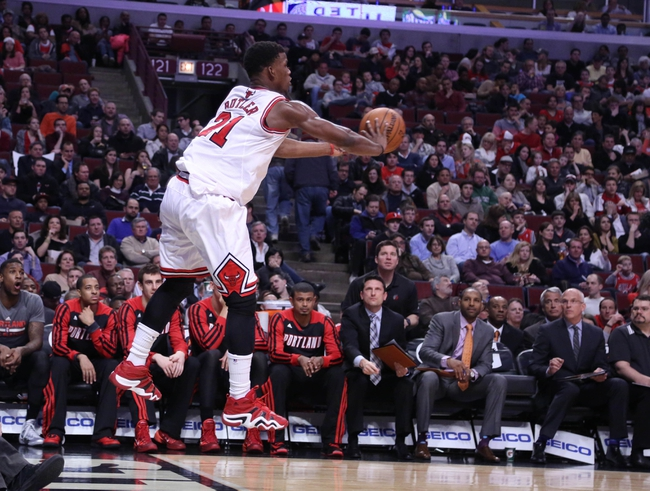 Mar 28, 2014; Chicago, IL, USA; Chicago Bulls guard Jimmy Butler (21) saves an out of bounds during the second quarter against the Portland Trail Blazers at the United Center. Mandatory Credit: Dennis Wierzbicki-USA TODAY Sports
