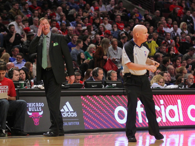 Mar 28, 2014; Chicago, IL, USA; Portland Trail Blazers head coach Terry Stotts reacts to a call by referee Joe Crawford (17) during the second half against the Chicago Bulls at the United Center. Portland won 91-74. Mandatory Credit: Dennis Wierzbicki-USA TODAY Sports