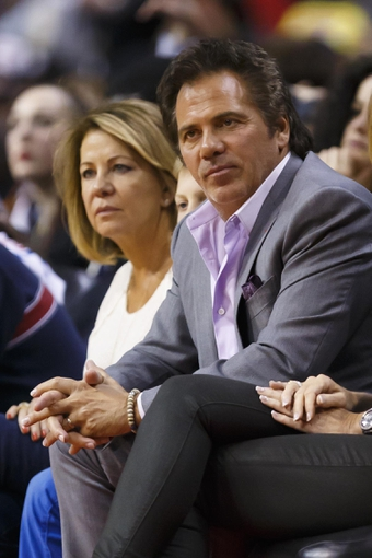 Mar 28, 2014; Auburn Hills, MI, USA; Detroit Pistons owner Tom Gores watches the game in the second half against the Miami Heat at The Palace of Auburn Hills. Miami won 110-78. Mandatory Credit: Rick Osentoski-USA TODAY Sports