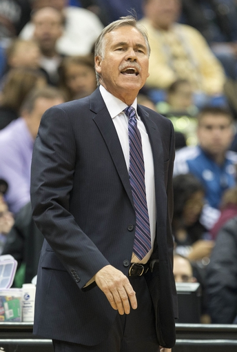 Mar 28, 2014; Minneapolis, MN, USA;Los Angeles Lakers head coach Mike D'Antoni looks on during the first half against the Minnesota Timberwolves at Target Center. The Timberwolves won 143-107. Mandatory Credit: Jesse Johnson-USA TODAY Sports