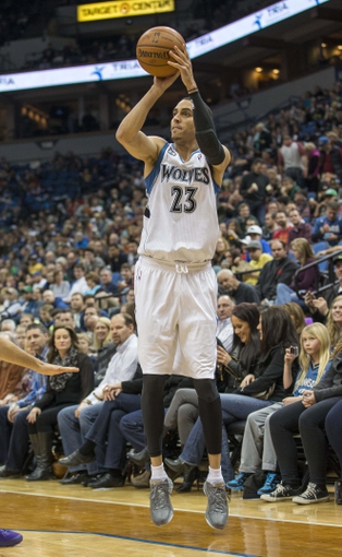 Mar 28, 2014; Minneapolis, MN, USA; Minnesota Timberwolves guard Kevin Martin (23) goes up for a shot in the second half at Target Center. The Timberwolves won 143-107. Mandatory Credit: Jesse Johnson-USA TODAY Sports
