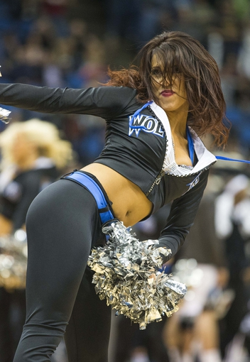 Mar 28, 2014; Minneapolis, MN, USA; Minnesota Timberwolves dancer performs in the second half against the Los Angeles Lakers at Target Center. The Timberwolves won 143-107. Mandatory Credit: Jesse Johnson-USA TODAY Sports