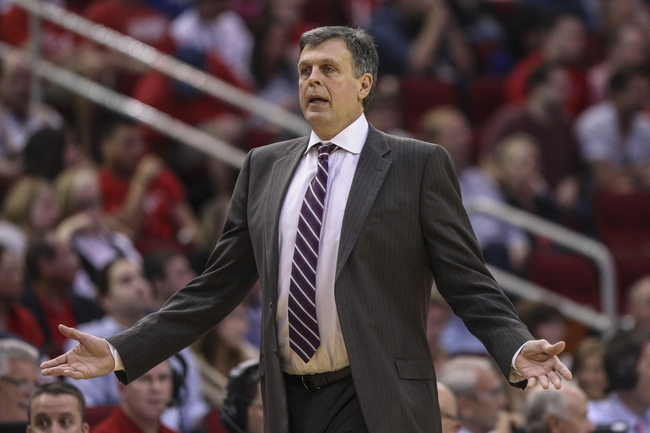 Mar 29, 2014; Houston, TX, USA; Houston Rockets head coach Kevin McHale reacts after a play during the second quarter against the Los Angeles Clippers at Toyota Center. Mandatory Credit: Troy Taormina-USA TODAY Sports