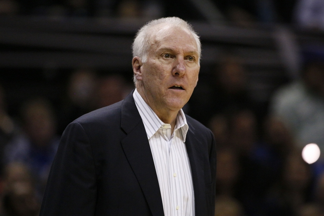 Mar 29, 2014; San Antonio, TX, USA; San Antonio Spurs head coach Gregg Popovich reacts to a call during the second half against the New Orleans Pelicans at AT&T Center. The Spurs won 96-80. Mandatory Credit: Soobum Im-USA TODAY Sports