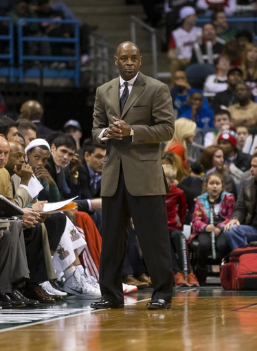 Mar 29, 2014; Milwaukee, WI, USA; Milwaukee Bucks head coach Larry Drew looks on during the fourth quarter against the Miami Heat at BMO Harris Bradley Center.  Miami won 88-67.  Mandatory Credit: Jeff Hanisch-USA TODAY Sports
