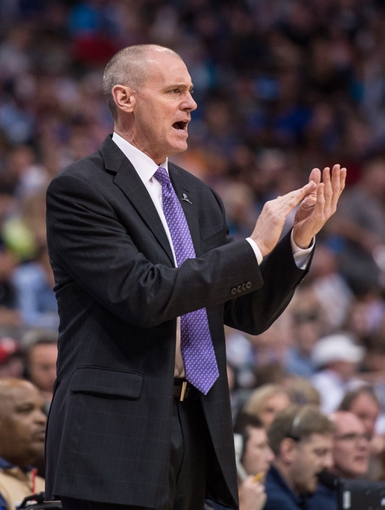 Mar 29, 2014; Dallas, TX, USA; Dallas Mavericks head coach Rick Carlisle cheers for his team as they take on the Sacramento Kings during the second half at the American Airlines Center. The Mavericks defeated the Kings 103-100. Mandatory Credit: Jerome Miron-USA TODAY Sports
