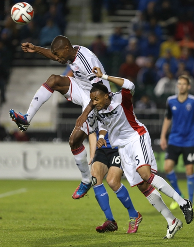 Mar 29, 2014; Santa Clara, CA, USA; New England Revolution defender Jose Goncalves (23) and defender D