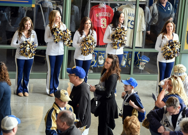 Mar 31, 2014; Milwaukee, WI, USA;   The Diamond Dancers welcome fans to the opening day of baseball game between the Milwaukee Brewers and Atlanta Braves at Miller Park. Mandatory Credit: Benny Sieu-USA TODAY Sports