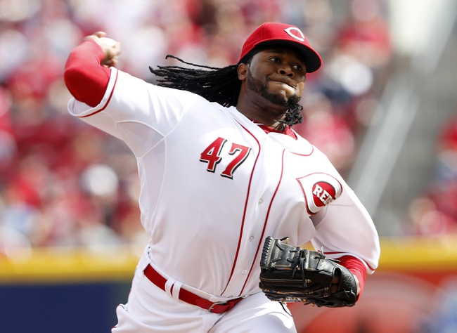 Mar 31, 2014; Cincinnati, OH, USA; Cincinnati Reds starting pitcher Johnny Cueto (47) pitches during the first inning against the St. Louis Cardinals at Great American Ball Park. Mandatory Credit: Frank Victores-USA TODAY Sports