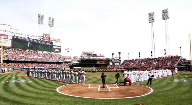 Mar 31, 2014; Cincinnati, OH, USA; A general view of opening ceremonies prior to the game against the Cincinnati Reds and the St. Louis Cardinals at Great American Ball Park. Mandatory Credit: Frank Victores-USA TODAY Sports