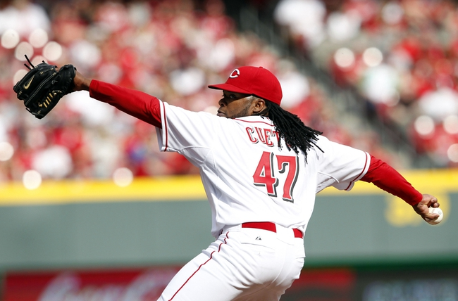 Mar 31, 2014; Cincinnati, OH, USA; Cincinnati Reds starting pitcher Johnny Cueto (47) pitches during the third inning against the St. Louis Cardinals at Great American Ball Park. Mandatory Credit: Frank Victores-USA TODAY Sports