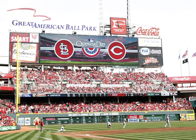 Mar 31, 2014; Cincinnati, OH, USA; A general view of the score board prior to the game against the Cincinnati Reds and the St. Louis Cardinals at Great American Ball Park. Mandatory Credit: Frank Victores-USA TODAY Sports