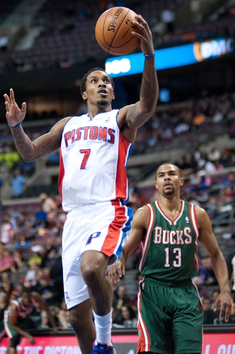 Mar 31, 2014; Auburn Hills, MI, USA; Detroit Pistons guard Brandon Jennings (7) shoots the ball during the first quarter against the Milwaukee Bucks at The Palace of Auburn Hills. Mandatory Credit: Tim Fuller-USA TODAY Sports