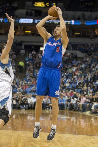 Mar 31, 2014; Minneapolis, MN, USA; Los Angeles Clippers forward Hedo Turkoglu (8) goes up for a shot in the first half against the Minnesota Timberwolves at Target Center. Mandatory Credit: Jesse Johnson-USA TODAY Sports