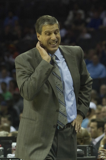 Mar 31, 2014; Charlotte, NC, USA; Washington Wizards head coach Randy Wittman reacts to a call in the second half against the Charlotte Bobcats at Time Warner Cable Arena. Bobcats defeated the Wizards 100-94. Mandatory Credit: Jeremy Brevard-USA TODAY Sports
