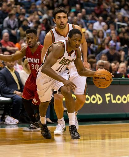 Mar 29, 2014; Milwaukee, WI, USA; Milwaukee Bucks guard Brandon Knight (11) during the game against the Miami Heat at BMO Harris Bradley Center.  Miami won 88-67.  Mandatory Credit: Jeff Hanisch-USA TODAY Sports