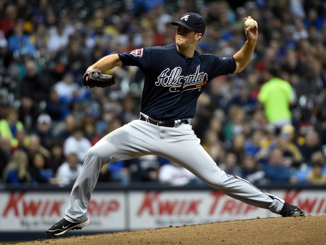 Apr 1, 2014; Milwaukee, WI, USA;  Atlanta Braves pitcher Alex Wood (40) pitches in the first inning against the Milwaukee Brewers at Miller Park. Mandatory Credit: Benny Sieu-USA TODAY Sports