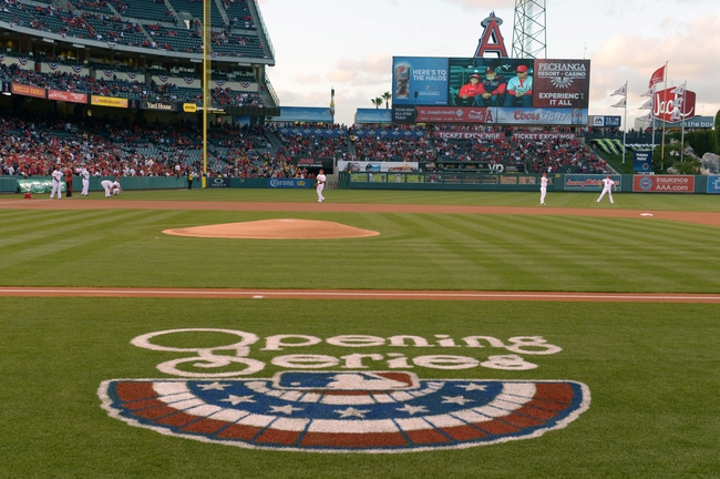 Apr 1, 2014; Anaheim, CA, USA; General view of the MLB Opening Series logo prior to the game between the Seattle Mariners and the Los Angeles Angels at Angel Stadium of Anaheim. Mandatory Credit: Kirby Lee-USA TODAY Sports