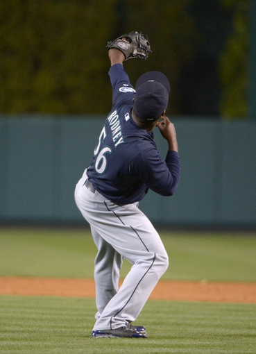 Apr 1, 2014; Anaheim, CA, USA; Seattle Mariners reliever Fernando Rodney (56) celebrates at the end of the game against the Los Angeles Angels at Angel Stadium of Anaheim. The Mariners defeated the Angels 8-3. Mandatory Credit: Kirby Lee-USA TODAY Sports