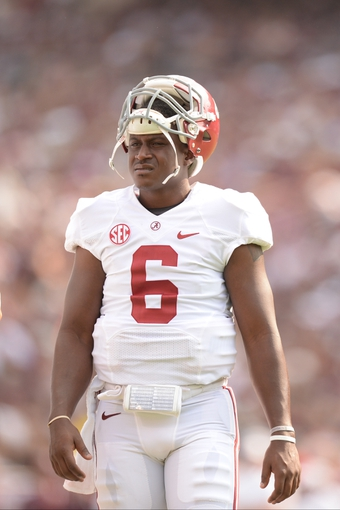Sep 14, 2013; College Station, TX, USA; Alabama Crimson Tide quarterback Blake Sims (6) walks during a time out against the Texas A&M Aggies during the first half at Kyle Field. Mandatory Credit: Thomas Campbell-USA TODAY Sports