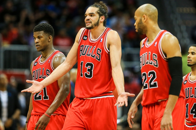 Apr 2, 2014; Atlanta, GA, USA; Chicago Bulls center Joakim Noah (13) reacts to a play in the second half against the Chicago Bulls at Philips Arena. The Bulls won 105-92. Mandatory Credit: Daniel Shirey-USA TODAY Sports