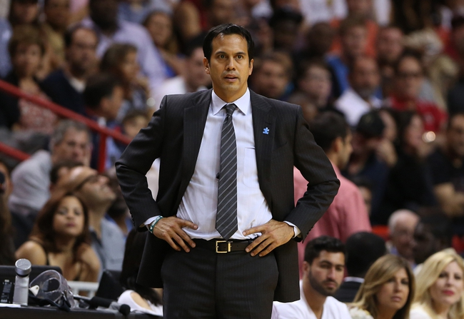 Apr 2, 2014; Miami, FL, USA; Miami Heat head coach Erik Spoelstra in the second half of a game against the Milwaukee Bucks at American Airlines Arena. The Heat won 96-77.  Mandatory Credit: Robert Mayer-USA TODAY Sports