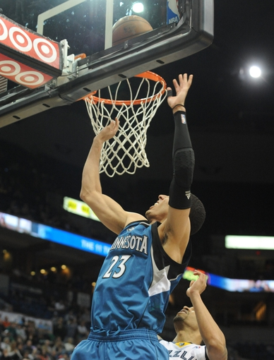 Apr 2, 2014; Minneapolis, MN, USA;  Minnesota Timberwolves guard Kevin Martin (23) takes a shot in the fourth quarter against the Memphis Grizzlies at Target Center. The Wolves defeated the Grizzlies 102-88.  Mandatory Credit: Marilyn Indahl-USA TODAY Sports