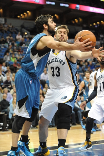 Apr 2, 2014; Minneapolis, MN, USA;  Minnesota Timberwolves guard Ricky Rubio (9) looks to pass over Memphis Grizzlies center Marc Gasol (33) in the fourth quarter at Target Center. The Wolves defeated the Grizzlies 102-88.  Mandatory Credit: Marilyn Indahl-USA TODAY Sports