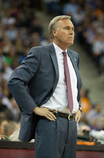 Apr 2, 2014; Sacramento, CA, USA; Los Angeles Lakers head coach Mike D'Antoni on the sideline against the Sacramento Kings during the second quarter at Sleep Train Arena. Mandatory Credit: Kelley L Cox-USA TODAY Sports