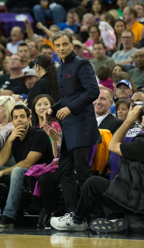 Apr 2, 2014; Sacramento, CA, USA; Sacramento Kings majority owner Vivek Ranadive court side during the second quarter against the Los Angeles Lakers at Sleep Train Arena. Mandatory Credit: Kelley L Cox-USA TODAY Sports