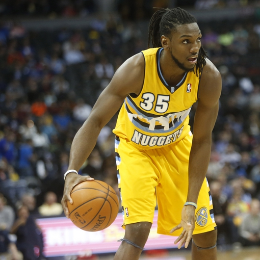 Apr 2, 2014; Denver, CO, USA; Denver Nuggets forward Kenneth Faried (35) during the second half against the New Orleans Pelicans at Pepsi Center.  The Nuggets won 137-107.  Mandatory Credit: Chris Humphreys-USA TODAY Sports