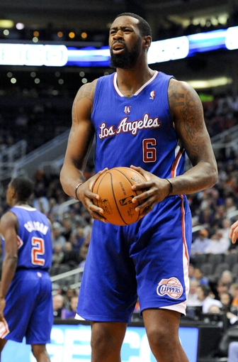 Apr 2, 2014; Phoenix, AZ, USA; Los Angeles Clippers center DeAndre Jordan (6) reacts to a call during the third quarter against the Phoenix Suns at US Airways Center. The Clippers won 112-108. Mandatory Credit: Casey Sapio-USA TODAY Sports