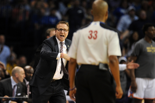 Apr 3, 2014; Oklahoma City, OK, USA; Oklahoma City Thunder head coach Scott Brooks reacts to a call in action against the San Antonio Spurs during the third quarter at Chesapeake Energy Arena. Mandatory Credit: Mark D. Smith-USA TODAY Sports
