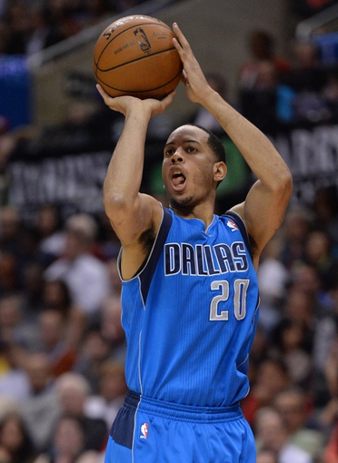 Apr 3, 2014; Los Angeles, CA, USA;   Dallas Mavericks guard Devin Harris (20) takes a jump shot in the second half of the game against the Los Angeles Clippers at Staples Center. Mavericks won 113-107. Mandatory Credit: Jayne Kamin-Oncea-USA TODAY Sports