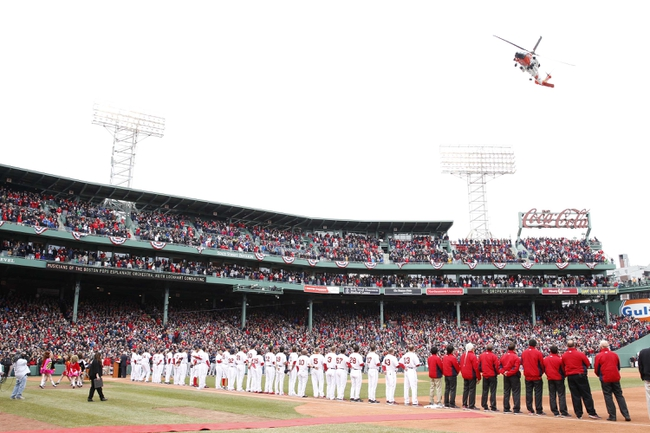Apr 4, 2014; Boston, MA, USA; A fly over before the start of an opening game between the Boston Red Sox and Milwaukee Brewers during pre-game ceremonies at Fenway Park. Mandatory Credit: David Butler II-USA TODAY Sports