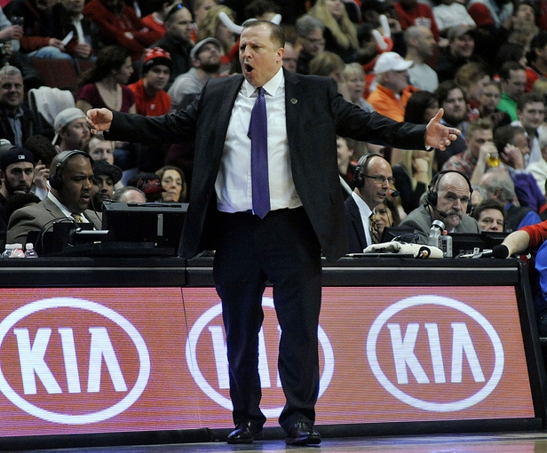 Apr 4, 2014; Chicago, IL, USA;  Chicago Bulls head coach Tom Thibodeau coaches against the Milwaukee Bucks during the first half at the United Center. Mandatory Credit: David Banks-USA TODAY Sports
