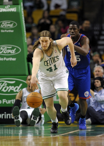 Apr 4, 2014; Boston, MA, USA; Boston Celtics center Kelly Olynyk (41) dribbles the ball during the second half against the Philadelphia 76ers at TD Garden. Mandatory Credit: Bob DeChiara-USA TODAY Sports