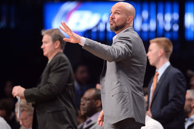 Apr 4, 2014; Brooklyn, NY, USA; Brooklyn Nets head coach Jason Kidd coaches against the Detroit Pistons during the first half at Barclays Center. The Nets won 116-104. Mandatory Credit: Joe Camporeale-USA TODAY Sports